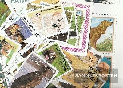 Thematics 100 different Dogs stamps  in complete Expenditure