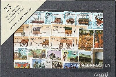 Thematics 25 different Carriages stamps