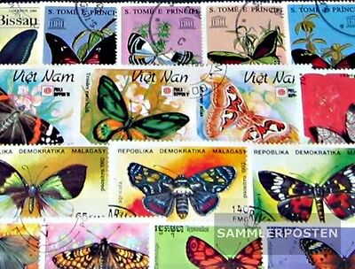 Thematics 150 different Butterflies stamps