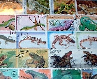 Thematics 200 different Reptiles stamps