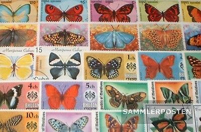 Thematics 200 different Butterflies stamps
