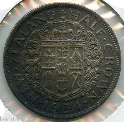 New Zealand 1934 Silver Coin - Half Crown - King George V - KP211