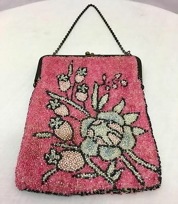 Vintage Antique Pink Beaded Purse w/ Chain Handle, Floral Pattern