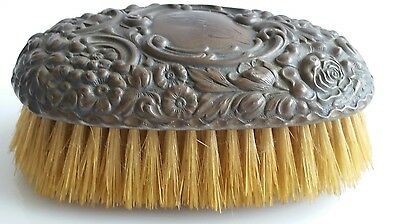 Vanity Brush Antique Sterling Floral Design   Repousse Clothes Brush Groomer