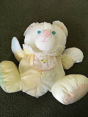 1988 Fisher Price Puffalump Yellow Bear Cub Plush with Bib and inside Rattle