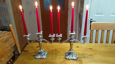Pair of Vintage Silver Plate Georgian style 3 Branch Grapevine Candelabra
