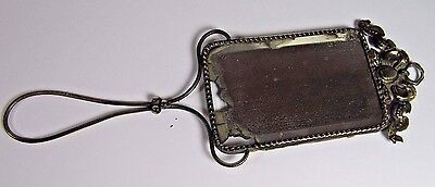 Antique Hand Mirror: French Vanity Beveled Glass Brass Bow Ribbon c1850