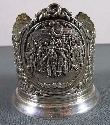 Antique Bottle Holder: VTG Famous Dutch Paintings Silver Plated Wine Coaster