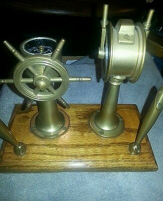 Ship Telegraph and Wheel Compass Pen Holder Desk