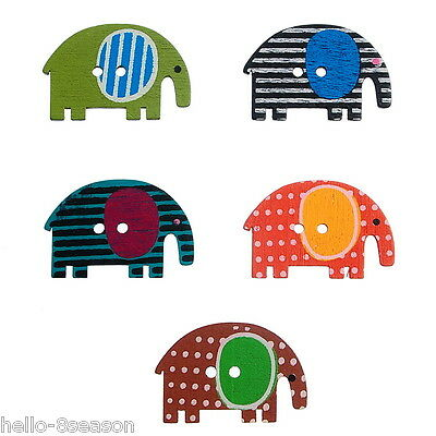 50PCs 2 Holes Mixed Calf Elephant Wooden Buttons Fit Sewing and Scrapbook