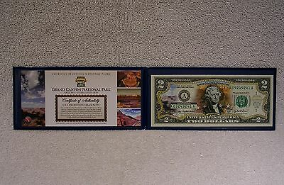 Grand Canyon National Park  Colorized $2 Bank Note - Two Dollar Bill