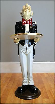 3' Snobby Butler Statue Wine Waiter w Gold Leaf Tray Tuxedo Restaurant Bar