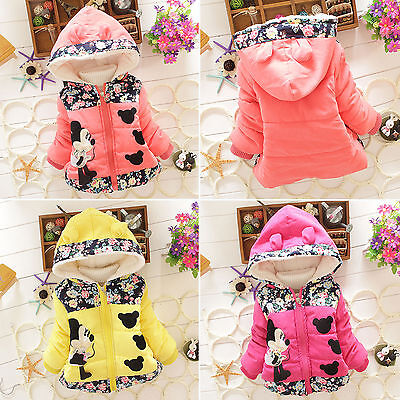 Kids Baby Girls Cartoon Minnie Mouse Hooded Jacket Coat Zip Winter Warm Snowsuit