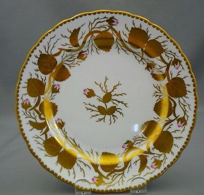 "Royal Chelsea England Bone China Pink Rose Bud HEAVY GOLD LEAF 8"" Side Plate"