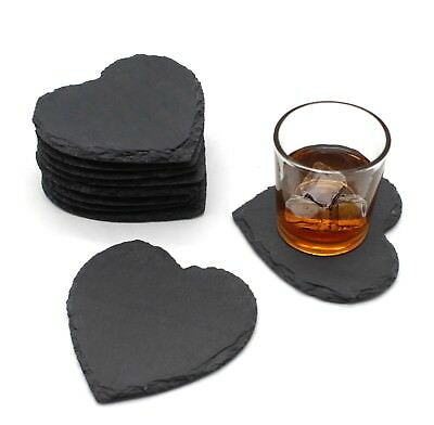 6pcs Set Rustic Natural Slate Heart Shape Coffee Table Mug Drink Cup Mat Coaster