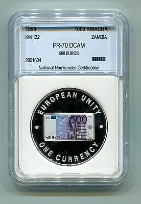 Zambia : 1000 Kwacha 1999 Proof (KM 132) - Multicolored 500 Euro