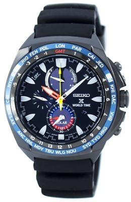 Seiko Prospex World Time Solar SSC551 Dark Blue Dial Rubber Band Men's Watch