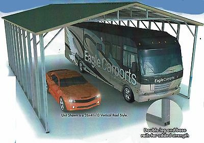 26x41x13 Triple-wide RV Cover Double-Framing Vertical Roof  Free Del/Instal.