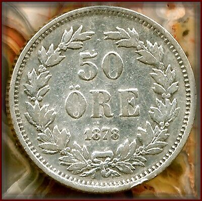1878 EB Sweden 50 Ore  Very RARE Silver VF World Coins $65  Low Buy Price $49.00