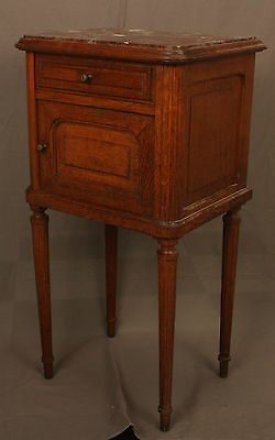 Antique Oak Commode Bed Side Table with Red Marble Top