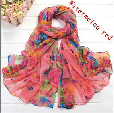 Lovely Women's Cotton Candy Long Crinkle Scarf Soft Wraps Shawl Flower Red G02