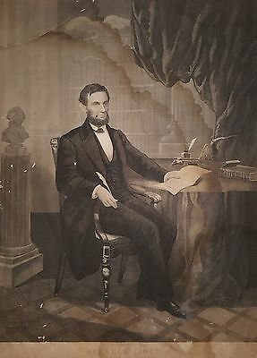 Antique 1864 Abraham Lincoln Emancipation Proclamation Engraving Philadelphia