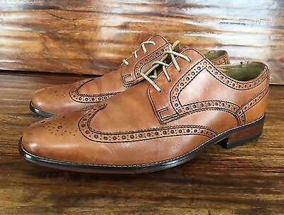 Men's Cole Haan Wingtip Lace Up Dress Shoes Tan Brown Leather 9 M
