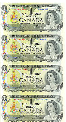 Bank of Canada 1973 $1 One Dollar 4 Consecutive Notes Crow-Bouey ECU AU+/UNC