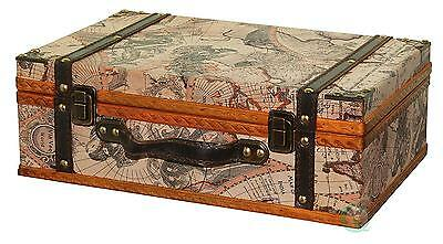 Vintiquewise Old World Map Suitcase, Antique Lite Brown