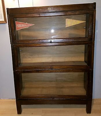 antique lundstrom 3 tier barrister bookcase