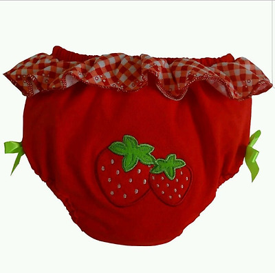 NWT RISING STAR Red Strawberry w/ Gingham Ruffle Diaper Cover Baby Girls 0-12M