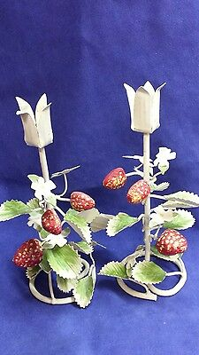 Pair of Toleware Candle Holder Vintage Italian Metal tole with STRAWBERRIES