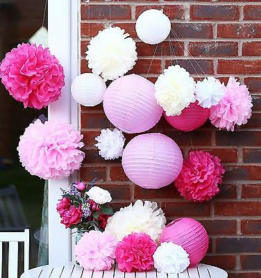 Tissue Paper Pom Poms and Lanterns Party Wedding Decoration. 18 Pieces