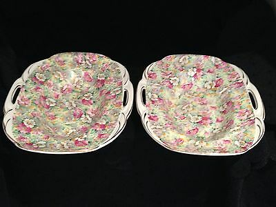 Pair of pretty chintz serving dishes. Ridgways Melbourne
