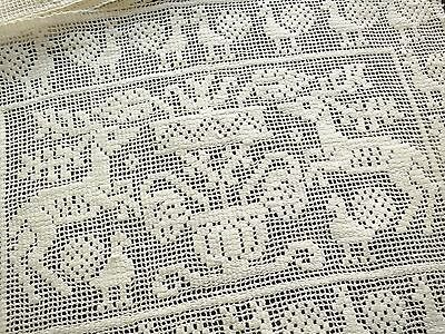 DEER & PEACOCKS in TRUE BURATTO LACE Antique Italian Linen 12 PLACEMATS Clean