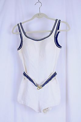 Vtg 1950s Jantzen Belted Swimsuit VTG Size 16 White Blue Stained Made in USA