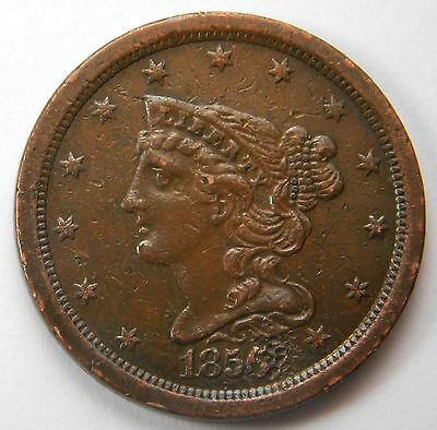 1856 Braided Hair Half Cent XF Damage on Date and Rev But Still Nice Coin 289
