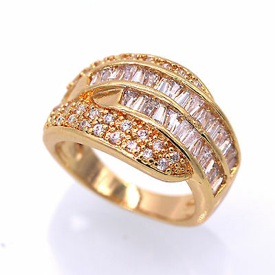 Clearance!New White Crystal Women Yellow Gold Plated Wedding Band Ring Size 7