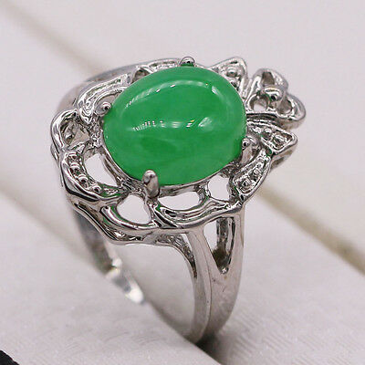 2017 New Unique Green Jade Silver Plated Fashion Women Lady Ring Jewelry Size 8