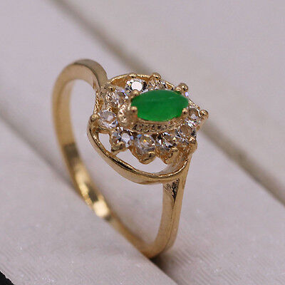 2017 Green Jade Crystal 18K Yellow Gold Plated Ring Fashion Women Jewelry Size 7