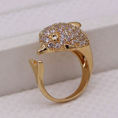 Cute Dolphin CZ 18K Yellow Gold Plated Fashion Women Lady Jewelry Open Size Ring