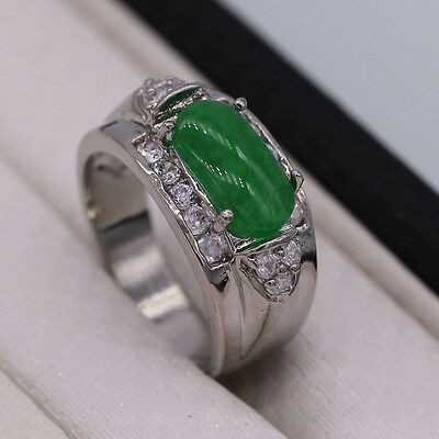 Fashion Green Jade Silver Plated Ring Men/Women Lady Wedding New Jewelry Size 8