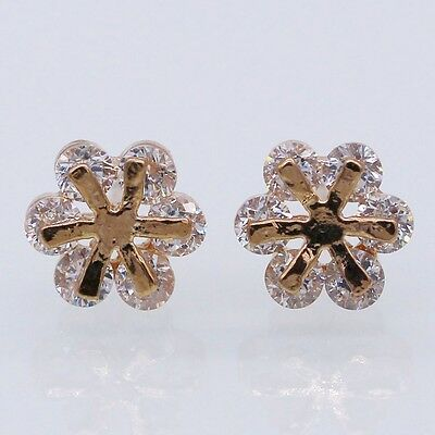 Fashion 8mm Stud Earrings Clear Crystal 18K Rose Gold Plated Women Jewelry Gift