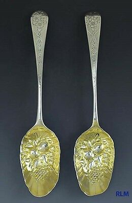 Antique 1804 Georgian Gilt Sterling Silver Hand chased Serving Spoons