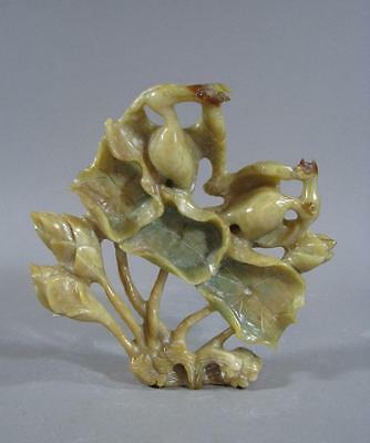 Nice Old Chinese Yellow Jade Statue Of Birds And Lotus