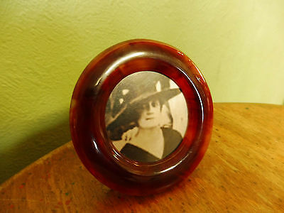rare Vintage round (early plastic) faux tortoise shell photo frame art deco