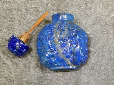 Antique Carved Lapis Snuff Bottle with stopper