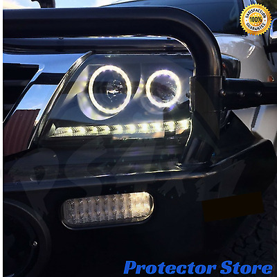 Toyota Hilux 2011-2015 LED Black Projector Angel Eye Headlights DRL Halo Pair