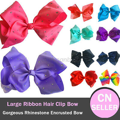 Girls Large Rhinestone Grosgrain Ribbon Hair Bow Clip 10 color Kid's accessories