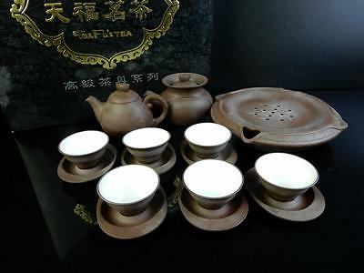 F4549: Chinese Brown pottery Shapely Sencha TEAPOT & CUPS Unused
